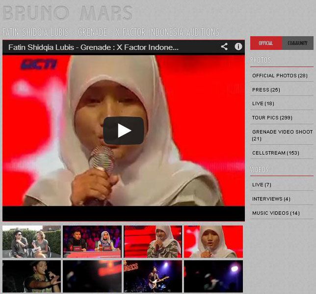 Video Fatin Grenade X Factor Indonesia yang di unduh 18 Januari 2013