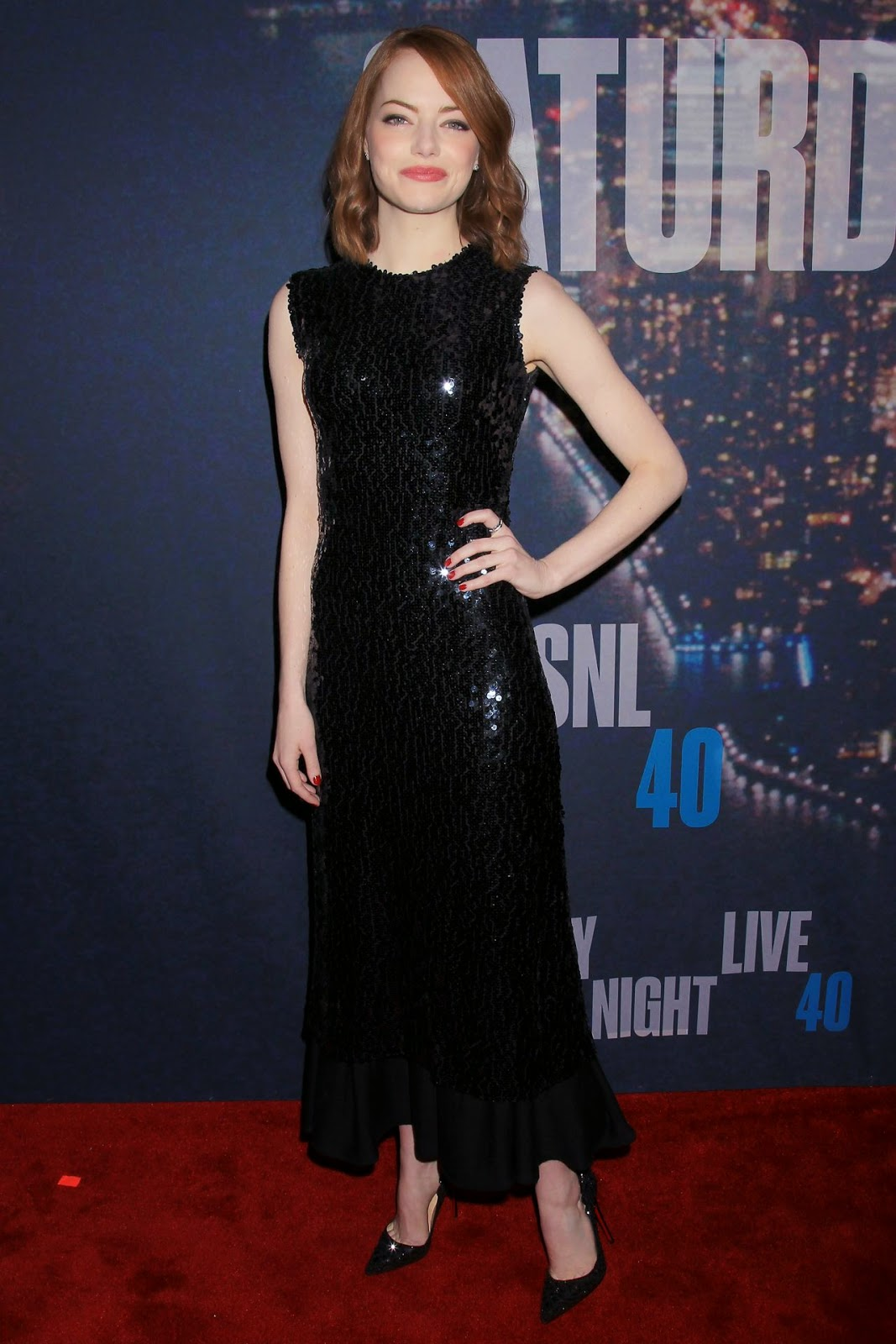 Emma Stone sparkles in a Dior dress at the SNL 40th Anniversary Celebration in NY