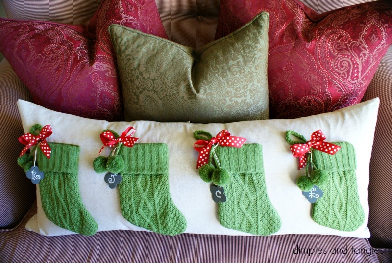 dimples and tangles pottery barn stocking pillow knock off. Black Bedroom Furniture Sets. Home Design Ideas