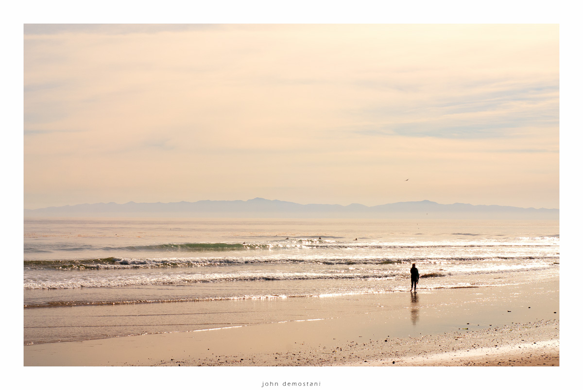 Santa Barbara beaches, California beaches, surfer girl, surfing, sunset glow