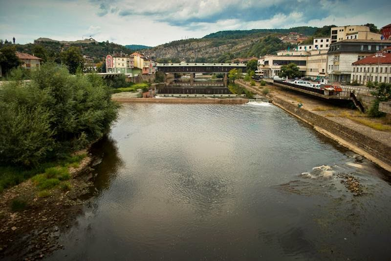"""The Covered Bridge in the town of Lovech, Bulgaria. The name comes from an old Bulgarian word meaning """"River City"""". The bridge crosses the Osam River, connecting the old """"Varosha"""" and new town parts of Lovech, being possibly the most recognisable symbol of the town."""