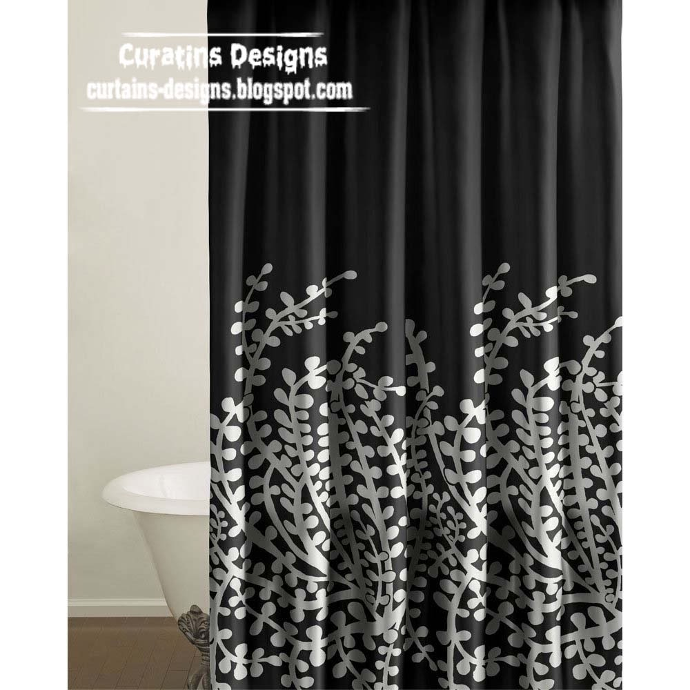 shabby chic black and white shower curtain designs ideas