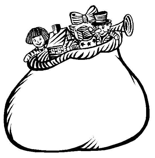 santa carrying big bag full of gifts and presents for little ones on christmas eve click to get complete sample of these coloring pages at your desktop