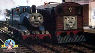 Percy's ghostly trick Thomas and Toby train tram engine returned to Sodor Knapford station platform
