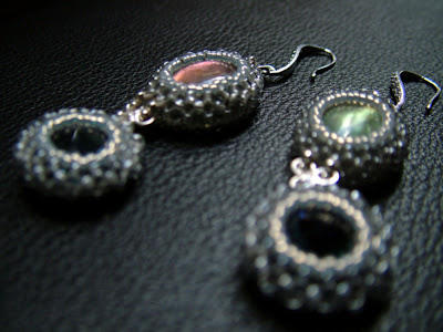 Beaded Bezel Gemstone Cab Earrings