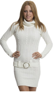 white sweater dress with a belt