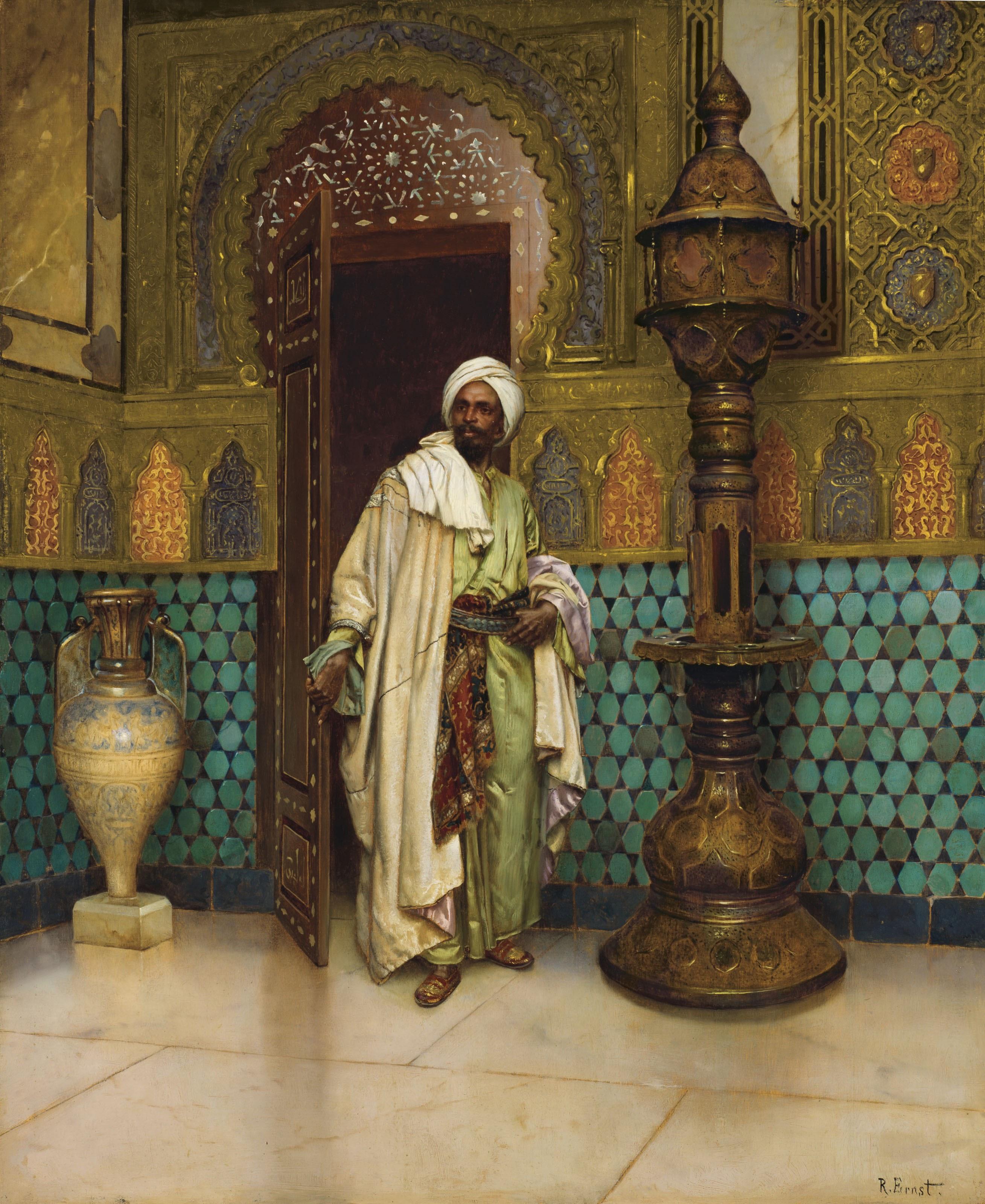 Rudolf Ernst An arab in a palace interior