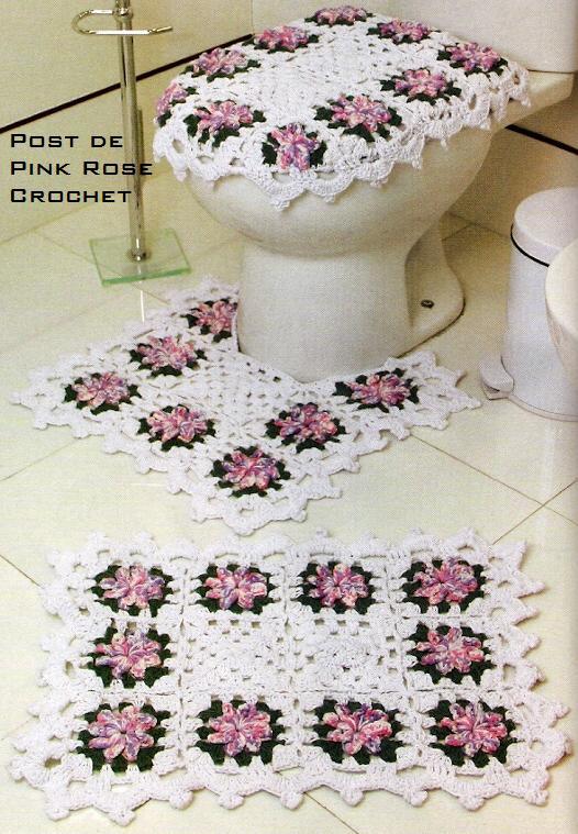 Tapete Floral Para Banheiro : Crochet Tapete De Banheiro