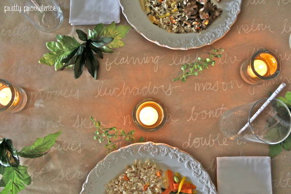 Healthy Anniversary dinner at home with romantic table setting - memories written on a kraft paper table runner. #EatHonestly #cbias #shop