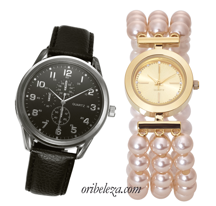 Relógio de Pérolas Madeleine e Relógio Noir da Oriflame