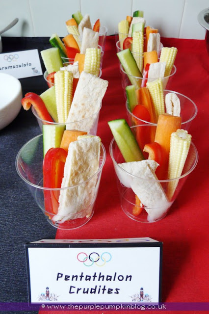 Pentathlon Crudities for an #Olympics Party at The Purple Pumpkin Blog