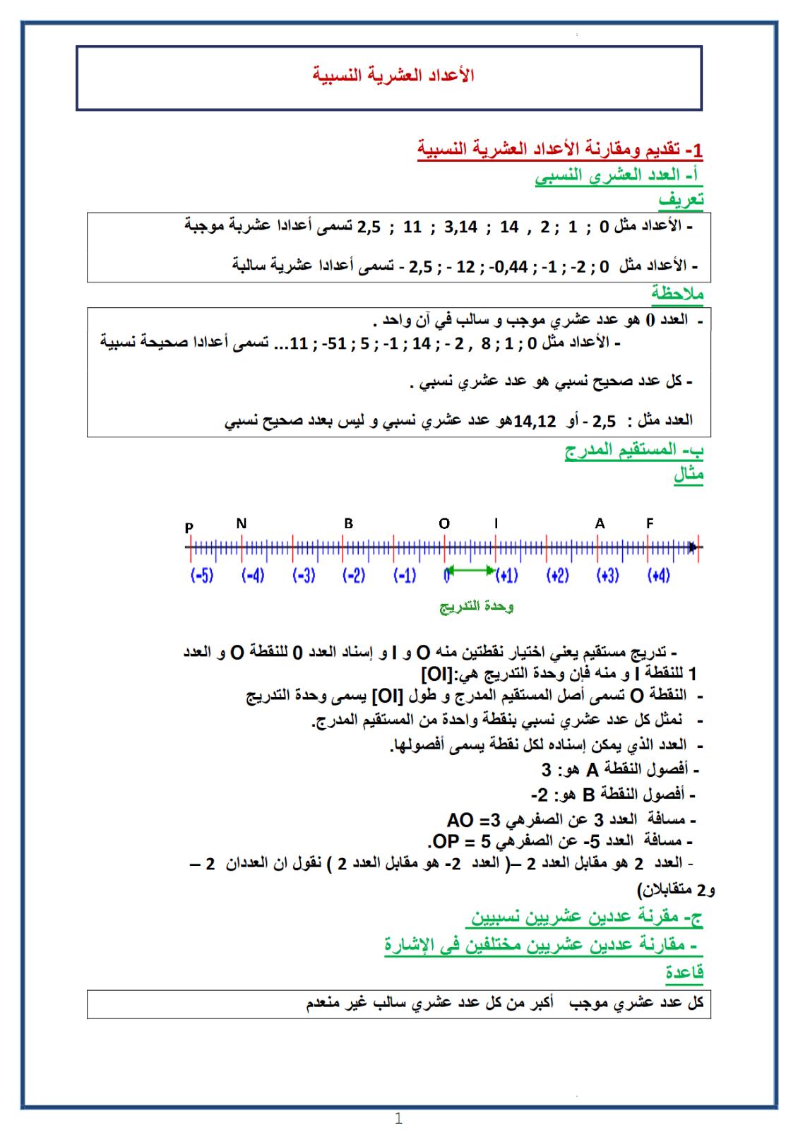 1  الاعداد العشرية النسبية