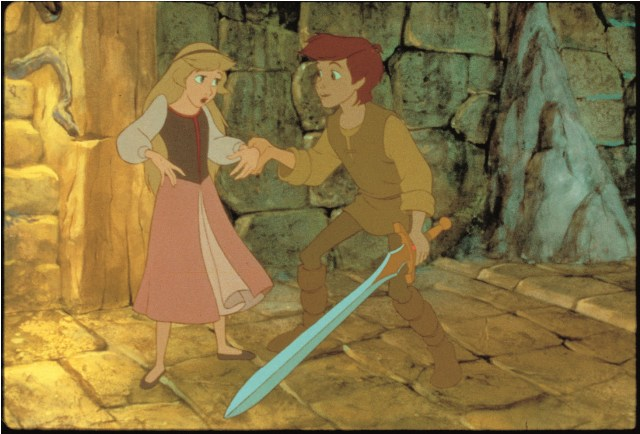 Taran holding sword Black Cauldron 1985 disneyjuniorblog.blogspot.com