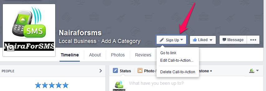 facebook call to action button for Nairaforsms
