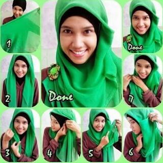 tutorial langkah cara pakai jilbab segi empat untuk anak sekolah