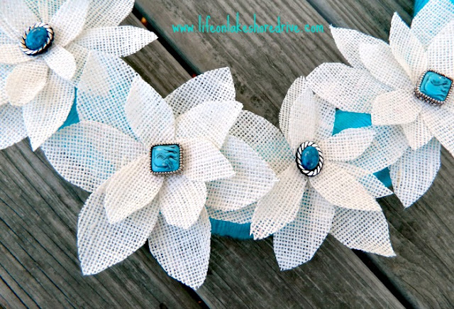 white burlap flowers with fabric stiffener and jewelry