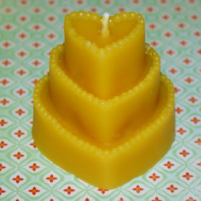 Homemade Natural Beeswax Candle - Heart Shaped Candle for Valentine's Day