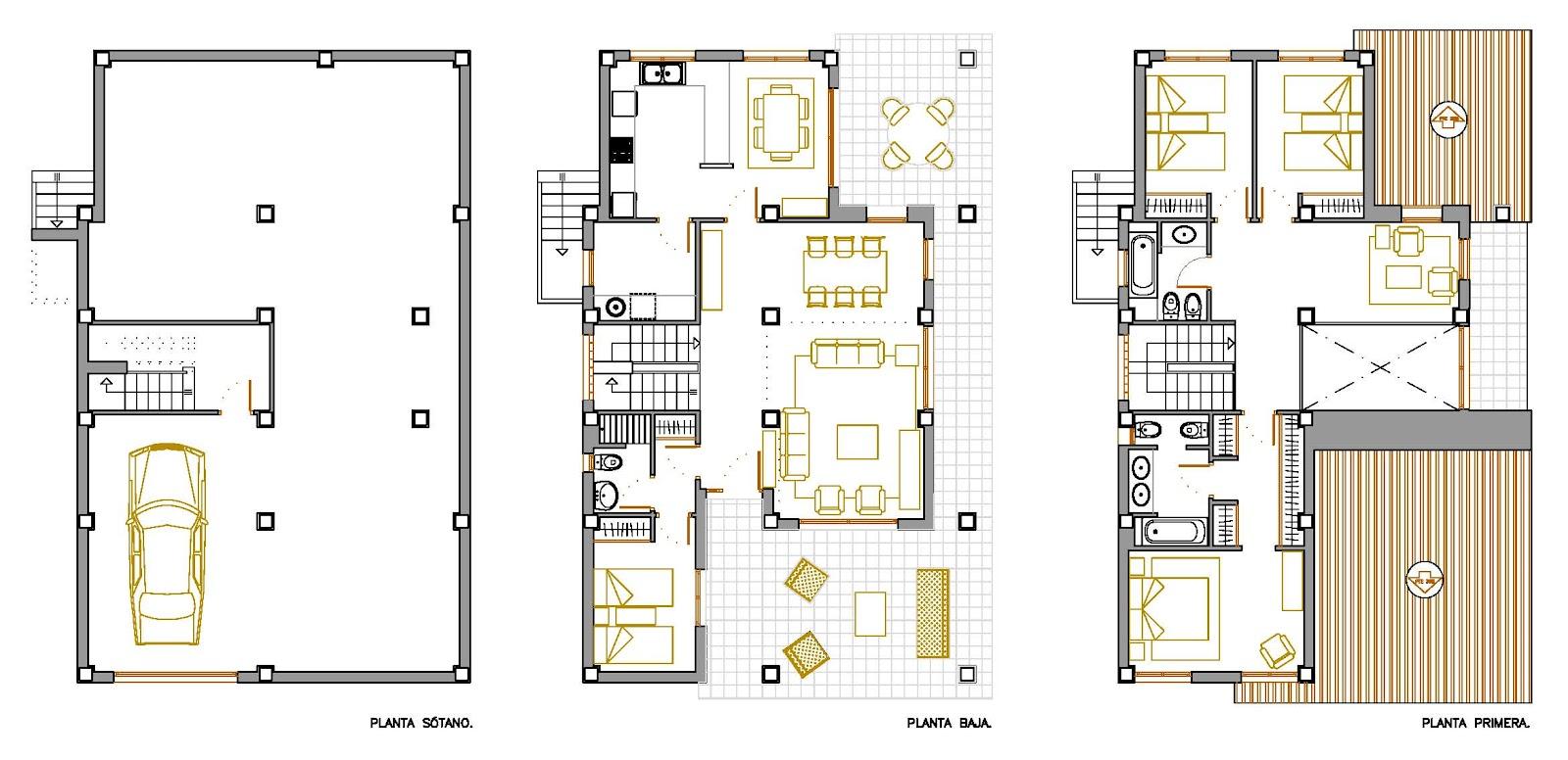 Planos de casas unifamiliares de dos plantas for Planos de casas 1 planta