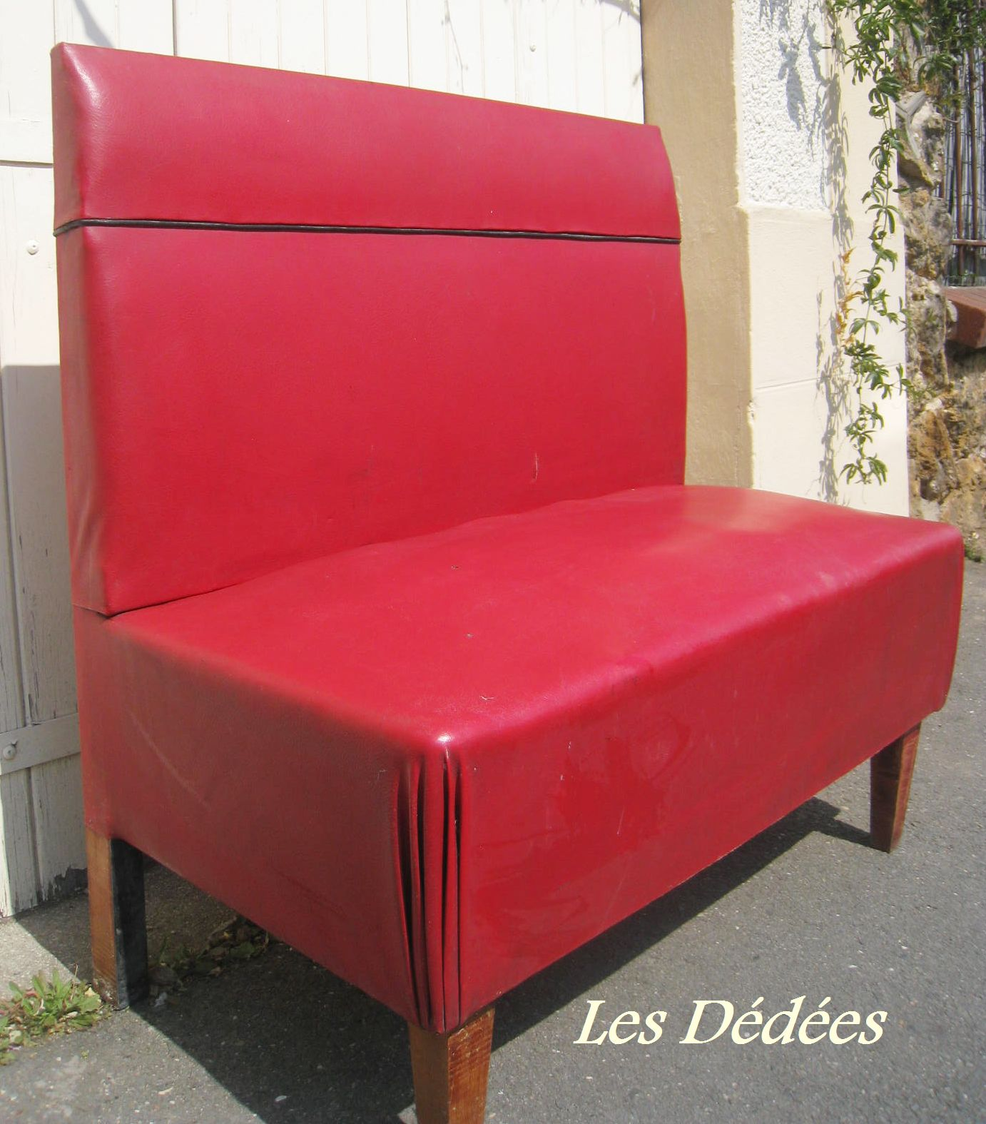 les dedees vintage recup creations banquette de cafe vintage by anne. Black Bedroom Furniture Sets. Home Design Ideas