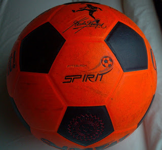 orange soccer ball from the pittsburgh spirit indoor soccer team