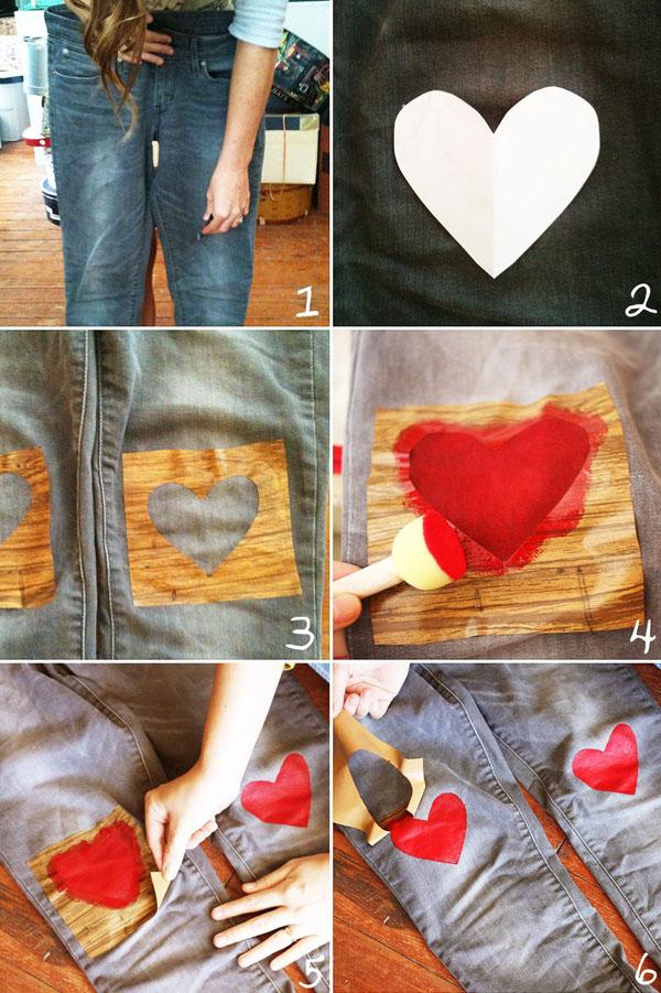 HEART JEANS Diy faça você mesmo handmade coração calça decoração passo-a-passo