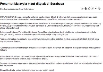 pelajar malaysia mati ditetak di surabaya
