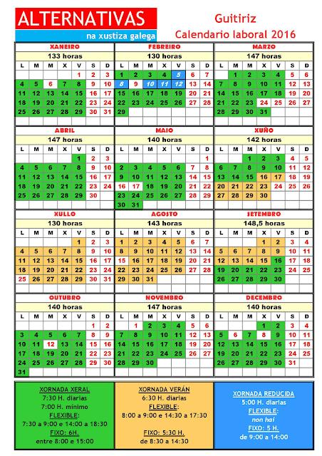 Guitiriz. Calendario laboral 2016