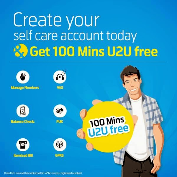 Signup for Uninor Self care to get free 100 uninor-uninor Minutes