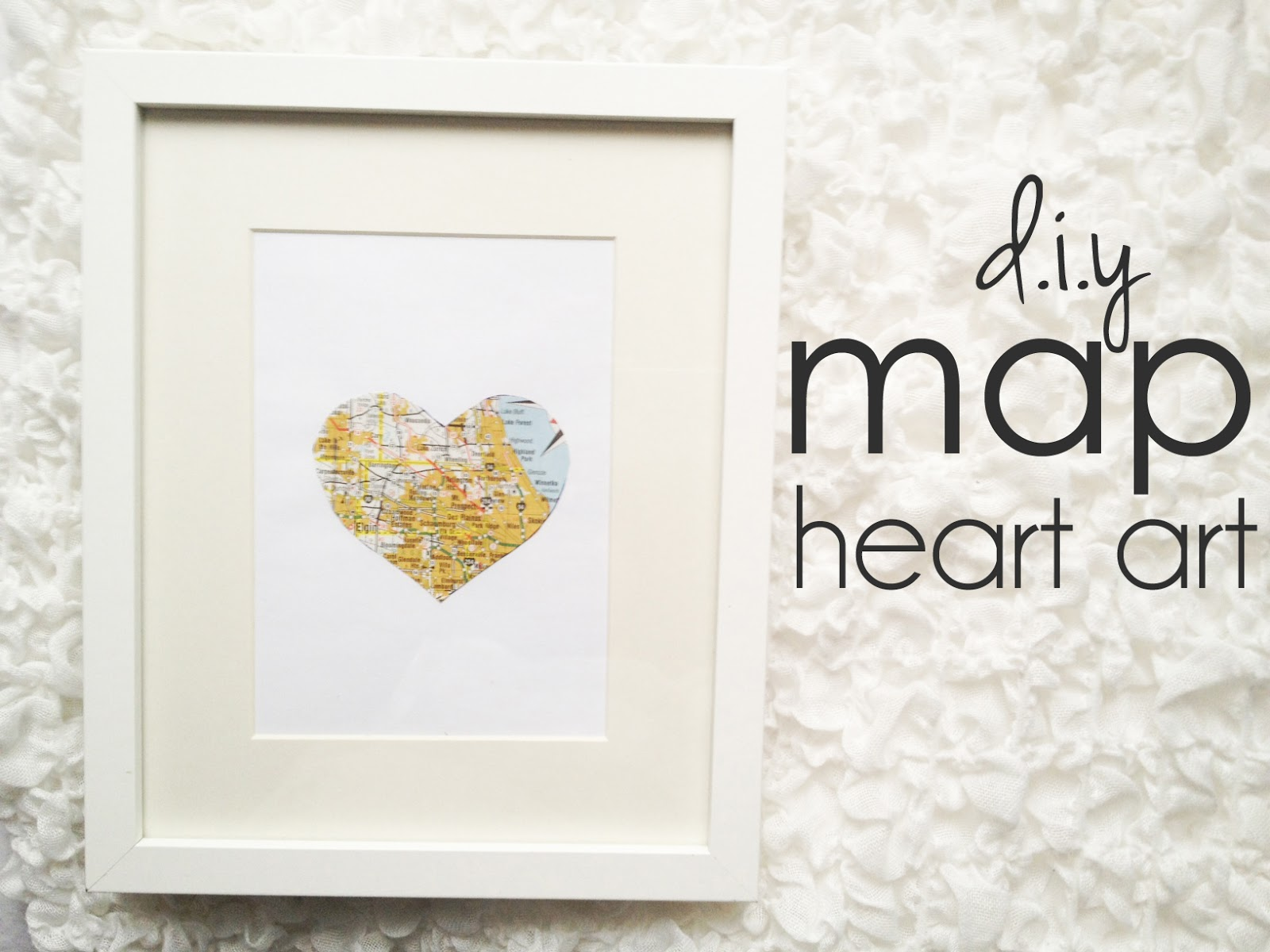 Lovely DIY map heart art at Cinsarah