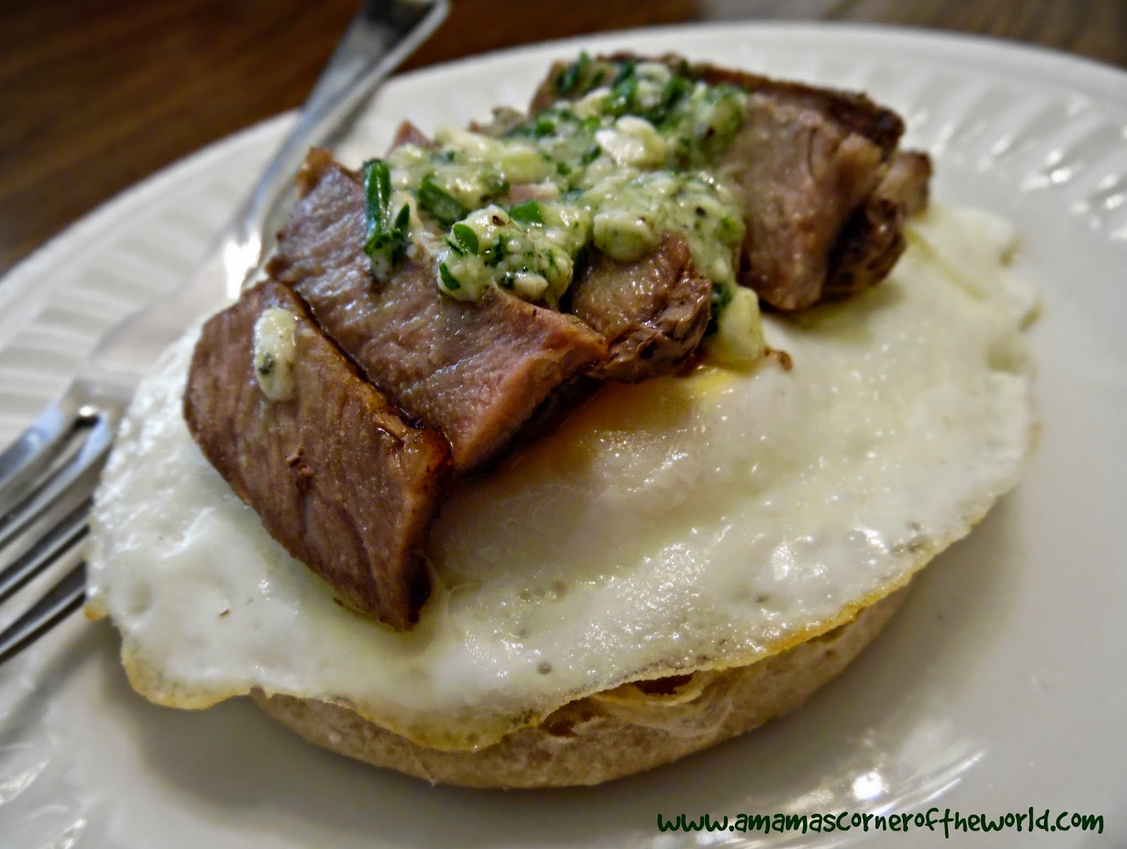 Recipe for an open faced steak egg and gorgonzola herb butter breakfast sandwich