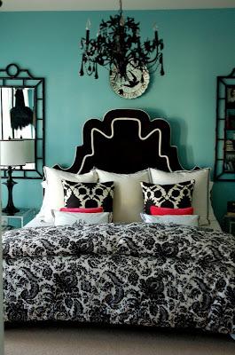 dormitorio turquesa y negro
