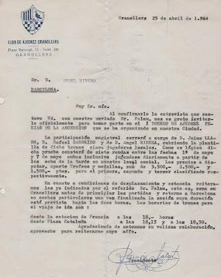 Carta del Club de Ajedrez Granollers a Ángel Ribera en 1964