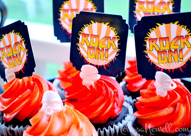 rock on cupcake toppers, cupcakes, party toppers, KISS, rocker party