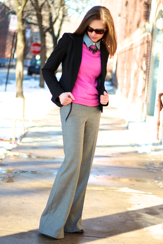 Black Blazer, Wide Leg Pants, Hot Pink | StyleSidebar