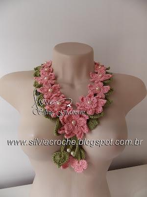 croche, colar de flores, colar de croche, flores de croche