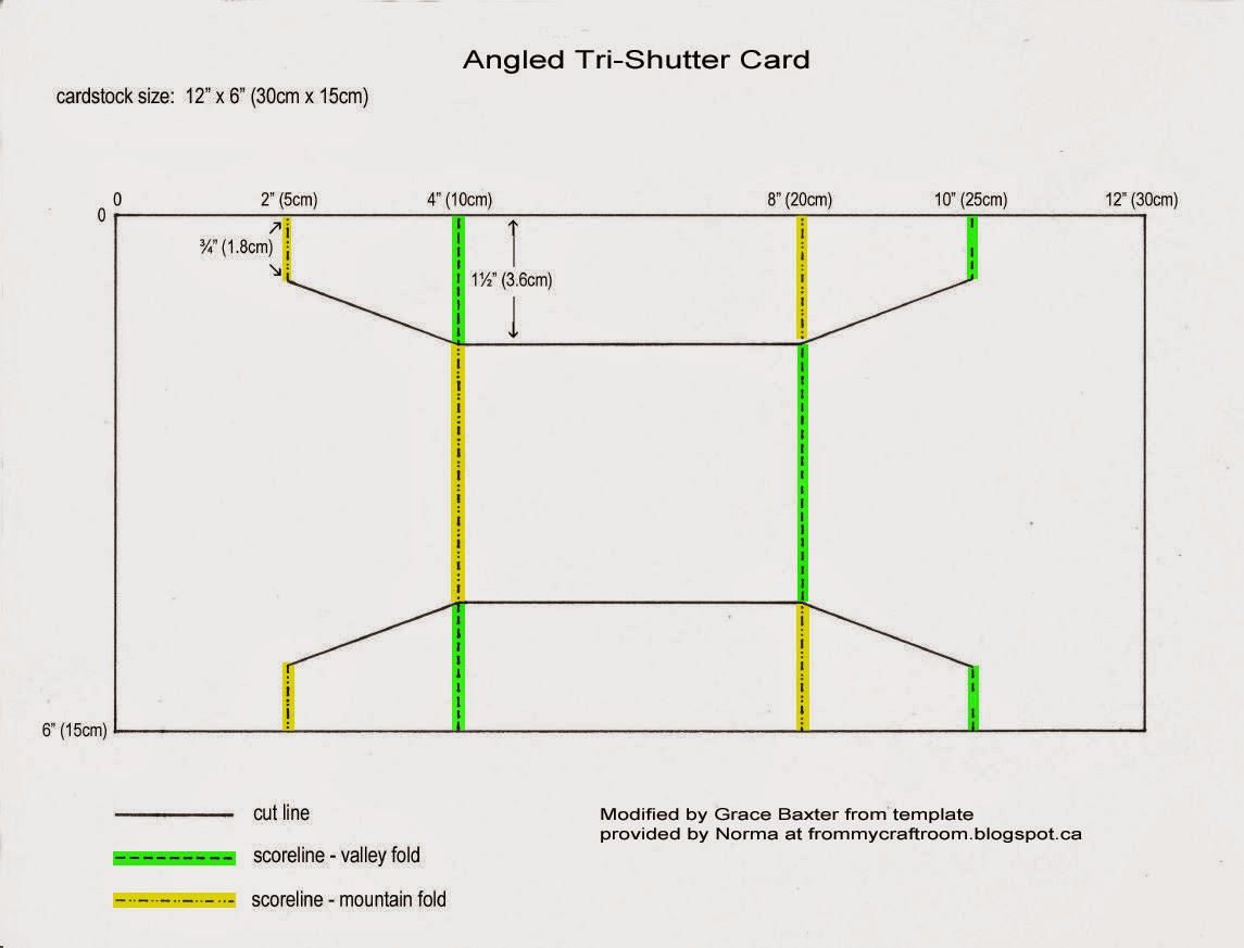 angled tri-shutter card, cutting diagram