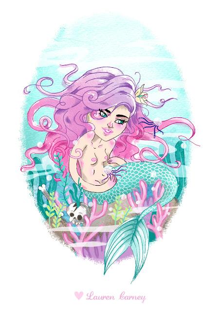 mermaid girl hair pastel mer jellyfish coral underwater sea disney