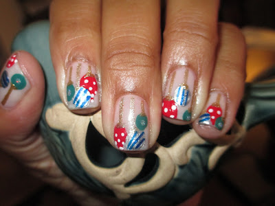 Christmas, ornaments, nail art, nail design, mani