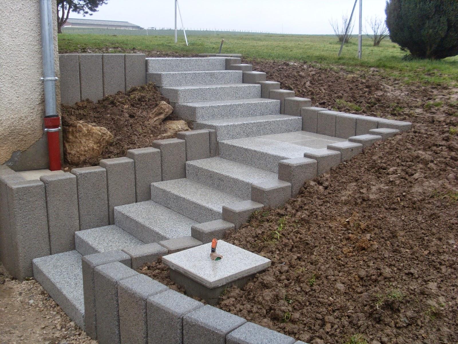 Hervier paysages escalier bord de palissades - Fabriquer un escalier en beton ...
