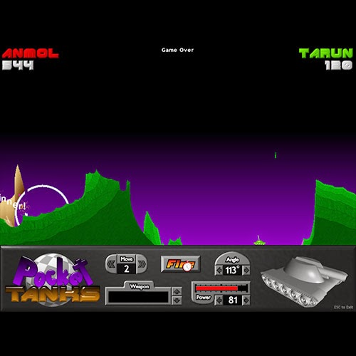 Playing Pocket Tanks: Day 7 of 100 Happy Days