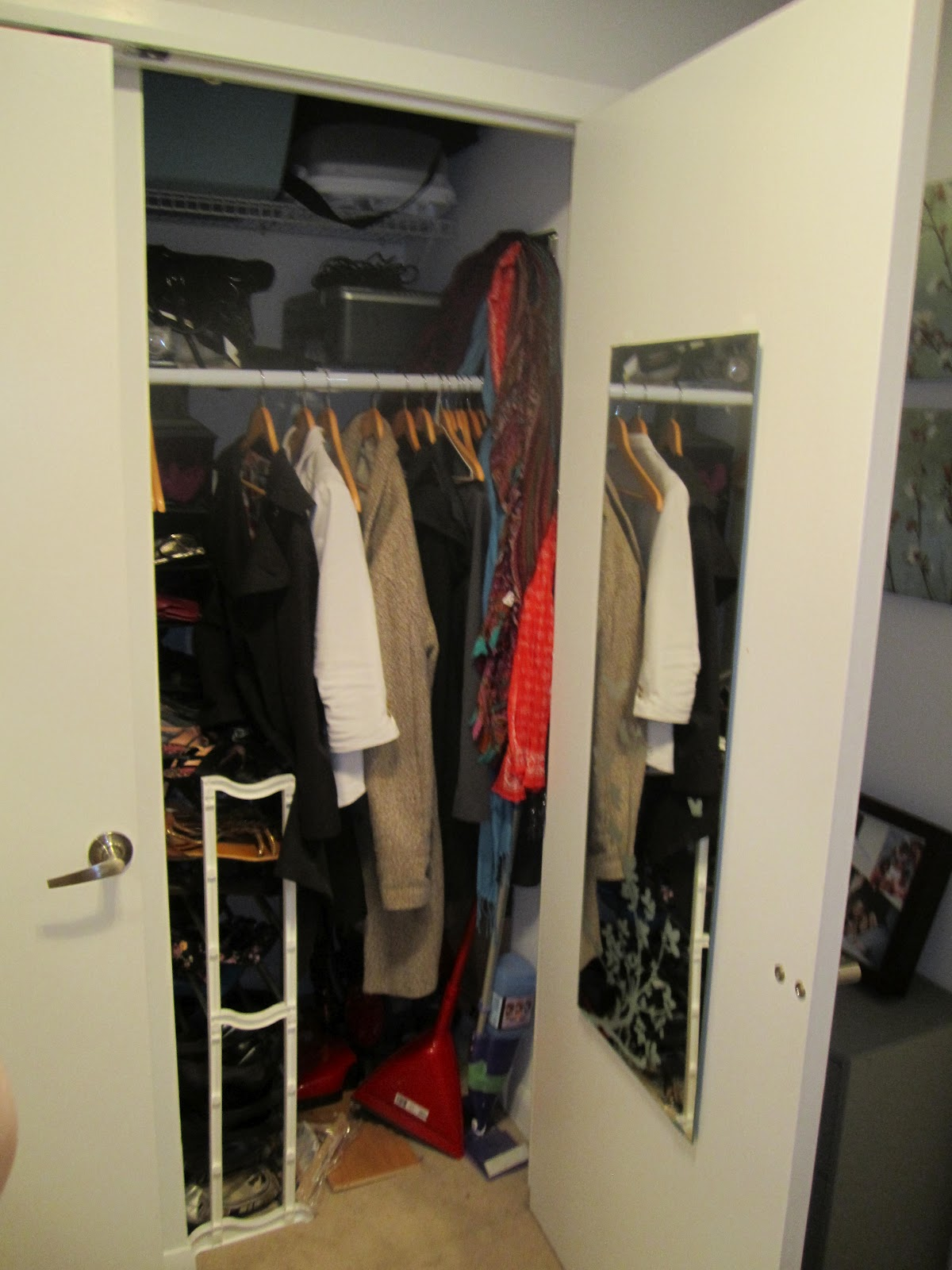 It Is Actually A Fairly Sizable Closet. The Coats Hang In The Front On The  New Bar My Dad Installed, And The Vacuum Sits In The Back.