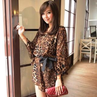 Dress Lengan Panjang Motif Leopard Anak Remaja
