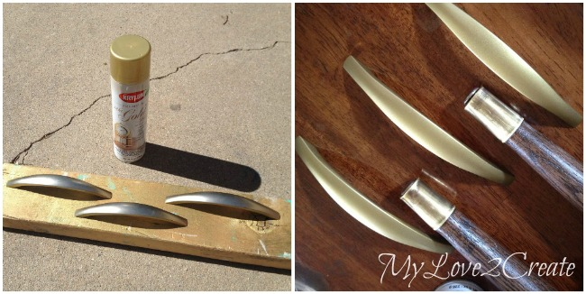 spray painting handles gold