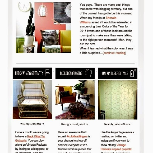 Vintage Revivals Newsletter Featuring my Sharpie Tumbling Block Wallpaper