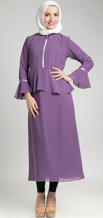 Model Baju Dress Muslim Ungu