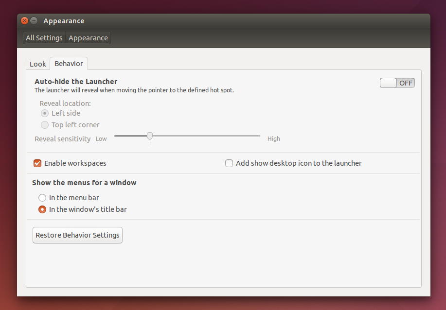 Ubuntu 14.04 Locally integrated menu settings