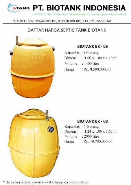 daftar harga septic tank biotank biofil, induro, sni, biogift, biohitech, biotech, megacell, dural, bio