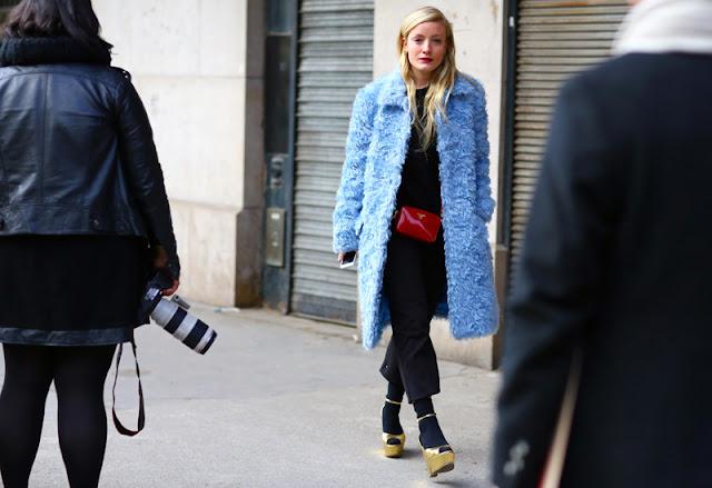 blue fur-coat- red-bag