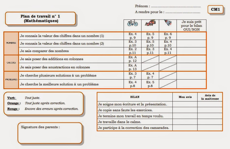 En classe avec montessori une organisation avec des cm1 for Plan de travail 4 cm