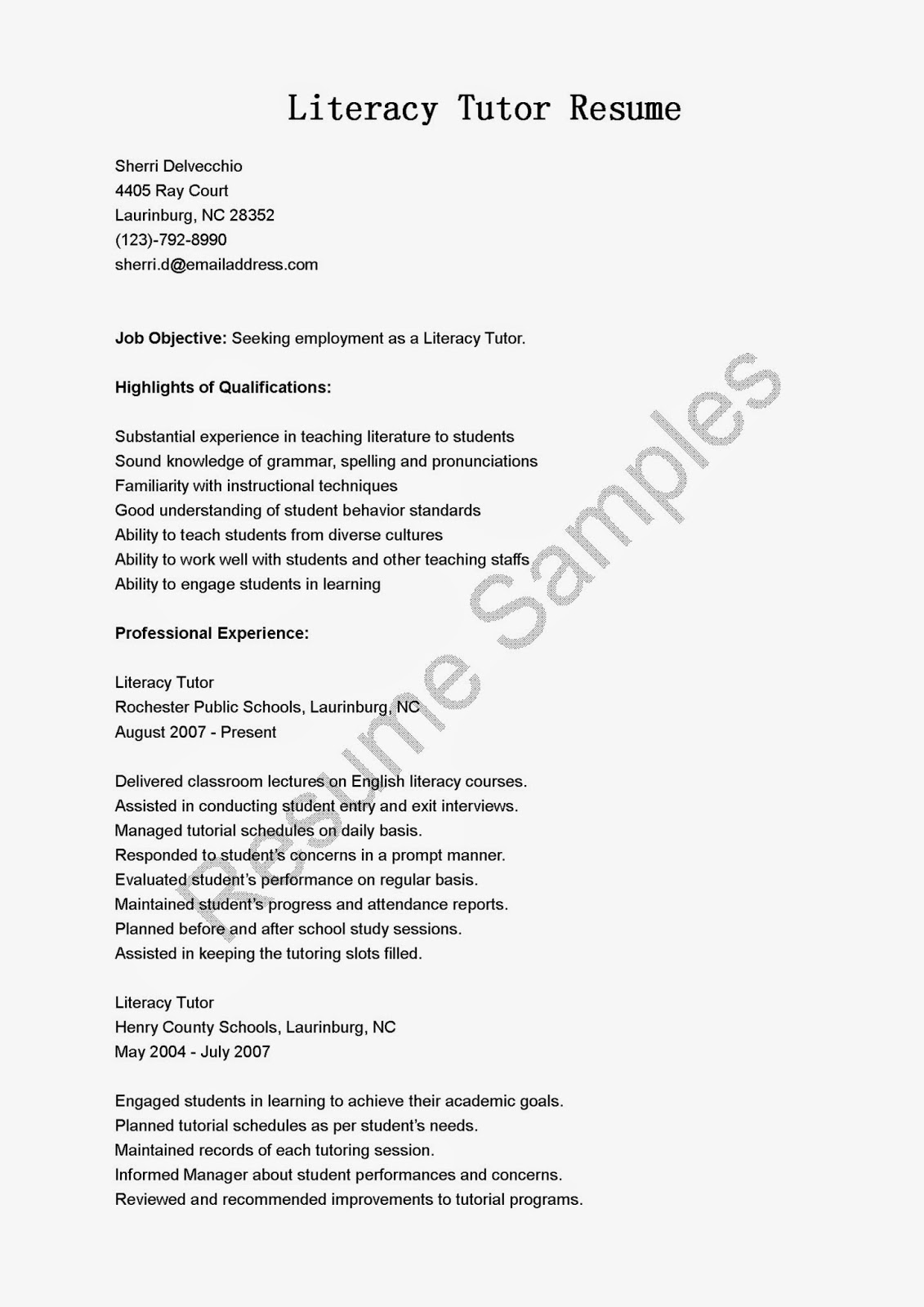 resume tutoring